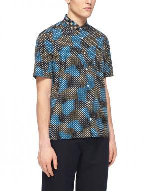 Хлопковая рубашка YMC. Цвет: синий, горчичный
