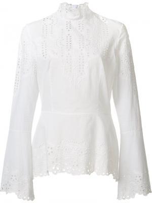 Блузка с вышивкой Yigal Azrouel. Цвет: белый