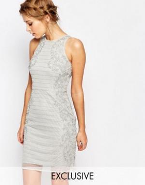 Frock and Frill Платье-футляр с высоким воротом и отделкой. Цвет: серый