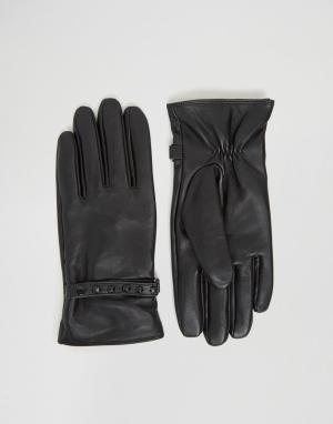 ASOS Черные кожаные перчатки с заклепками. Цвет: черный