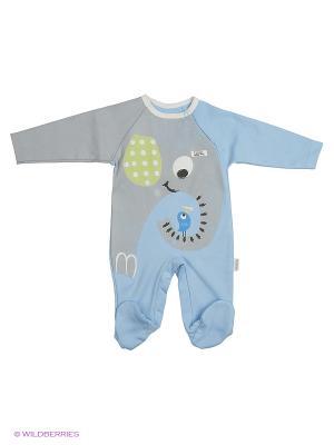 Комбинезон для малышей WO&GO. Цвет: бирюзовый, серый меланж