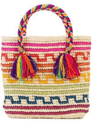 Маленькая сумка-тоут Arco Iris Yosuzi. Цвет: телесный