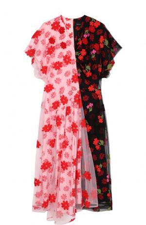 Платье с цветочной вышивкой и V-образным вырезом Simone Rocha. Цвет: разноцветный