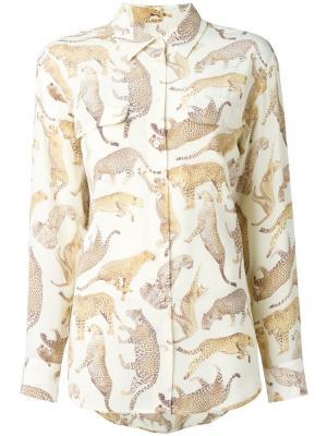 Рубашка с принтом диких кошек Equipment. Цвет: телесный
