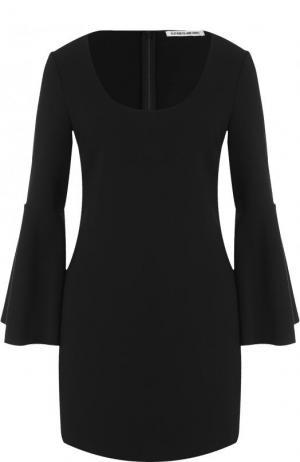 Однотонное мини-платье с круглым вырезом и расклешенными рукавами Elizabeth and James. Цвет: черный