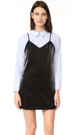Комбинированное платье-рубашка ENGLISH FACTORY. Цвет: голубая полоска/черный