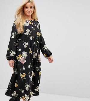 Alice & You Свободное платье с цветочным принтом. Цвет: черный