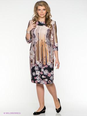 Платье Amelia Lux. Цвет: бежевый, белый, черный