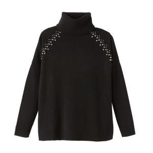 Пуловер кашемировый с воротником отворотом ADRIANA THE KOOPLES. Цвет: черный