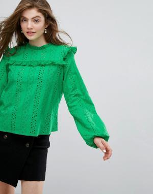 Willow and Paige Свободный топ с вышивкой ришелье. Цвет: зеленый