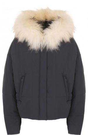 Стеганая куртка свободного кроя с меховой отделкой капюшона Army Yves Salomon. Цвет: темно-серый
