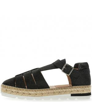 Черные сандалии из нубука Kanna. Цвет: черный
