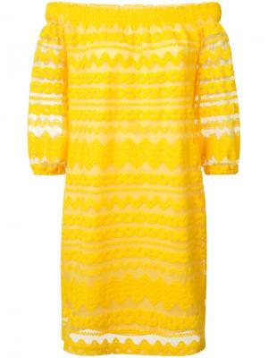 Платье с открытыми плечами Trina Turk. Цвет: жёлтый и оранжевый