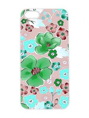 Чехол для iPhone 5/5s Зеленые цветы Chocopony. Цвет: темно-бежевый, белый, салатовый, голубой