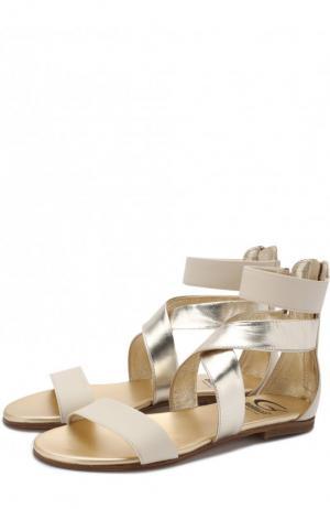 Кожаные сандалии с металлизированной отделкой Gallucci. Цвет: бежевый