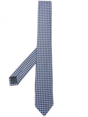 Галстук с вышивкой Z Zegna. Цвет: синий