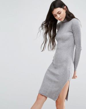 Vero Moda Платье с длинными рукавами и высокой горловиной. Цвет: серый