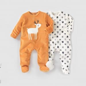 2 пижамы из велюра,  0 месяцев - 3 года R essentiel. Цвет: оранжевый + белый