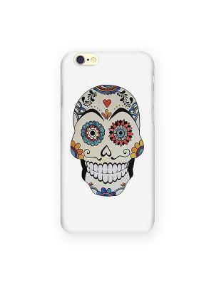 Чехол для IPhone 6 Мексиканский череп Mitya Veselkov. Цвет: белый, зеленый, фиолетовый