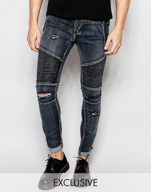 Liquor N Poker Черные выбеленные джинсы скинни в байкерском стиле с рваной отделкой L. Цвет: черный