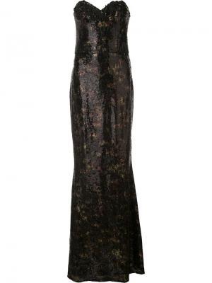 Длинное платье без бретелей с пайетками Marchesa Notte. Цвет: чёрный