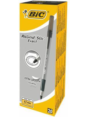 Ручка шариковая BIC Round Stic Exact черная, 20 штук. Цвет: черный