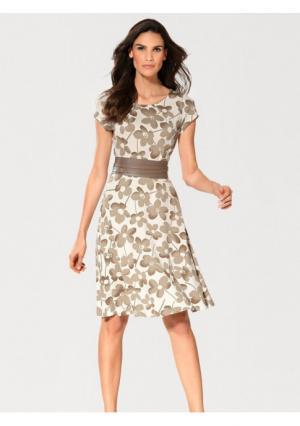 Моделирующее платье Ashley Brooke. Цвет: серо-коричневый/белый