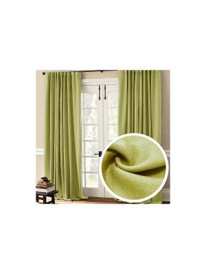 Портьера легкая Amore Mio  Лен 200*270 см - 2 шт. Зеленый. Цвет: зеленый