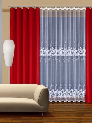 Комплект штор Haft. Цвет: красный, белый