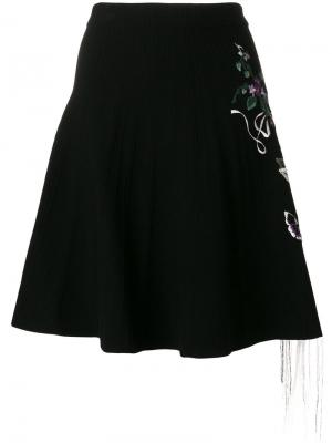 Юбка с цветочной вышивкой Piccione.Piccione. Цвет: чёрный