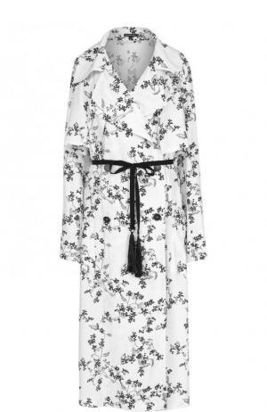 Пальто из смеси вискозы и шелка с принтом Ann Demeulemeester. Цвет: черно-белый