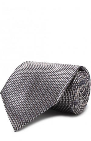 Шелковый галстук с узором Brioni. Цвет: бежевый