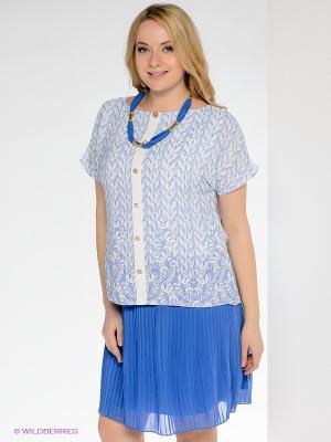 Платье Gemko plus size. Цвет: белый, синий