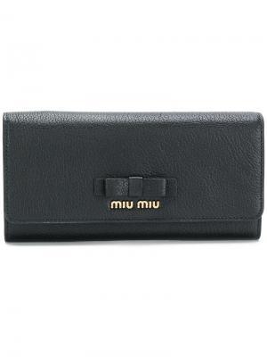 Континентальный кошелек с бантом Miu. Цвет: чёрный