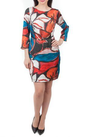 Платье с ремнем Mees. Цвет: красный