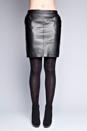 Кожаная юбка Giorgio. Цвет: черный