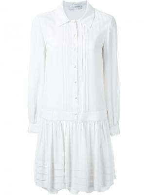 Плиссированное платье-рубашка Philosophy Di Lorenzo Serafini. Цвет: белый