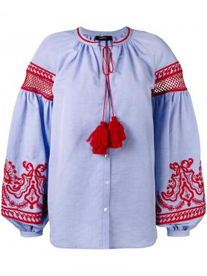Блузка с широкими рукавами и вышивкой Wandering. Цвет: синий