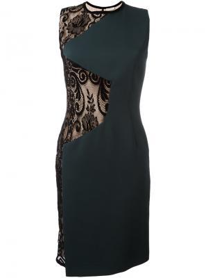 Платье шифт с кружевными вставками Emanuel Ungaro. Цвет: зелёный