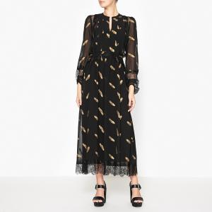 Платье длинное с рисунком THE KOOPLES. Цвет: черный