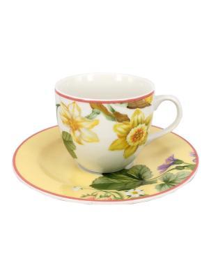Чайные чашки с блюдцем (4шт.) Tognana porcelane. Цвет: белый