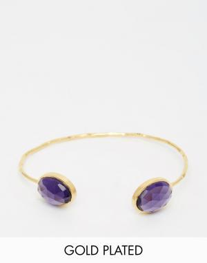 Taara Jewellery Позолоченный браслет с аметистами. Цвет: аметист
