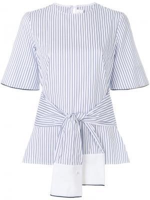 Полосатая блузка с запахом Victoria Beckham. Цвет: белый
