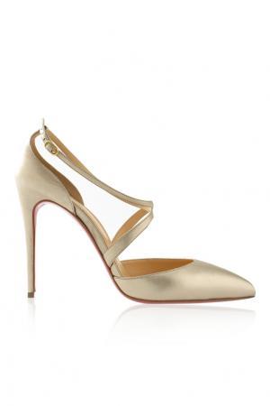 Кожаные туфли Maltaise 100 nappa laminata Christian Louboutin. Цвет: серебряный