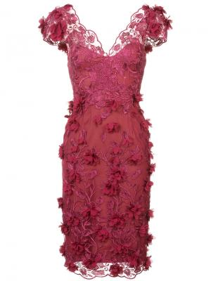 Платье с вышивкой и аппликацией Marchesa Notte. Цвет: красный