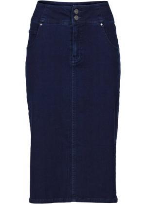 Мода больших размеров: юбка-стретч длиной миди (деним) bonprix. Цвет: деним