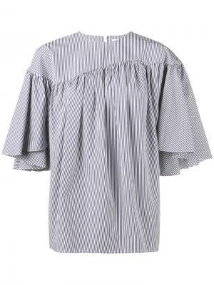 Полосатая блузка с присборенной отделкой A.W.A.K.E.. Цвет: синий