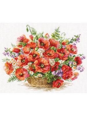 Набор для вышивания Корзина маков 40х30 см , Алиса. Цвет: белый, зеленый, коричневый, красный, кремовый