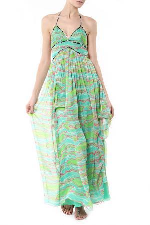 Длинное платье с принтом Matthew Williamson. Цвет: салатовый