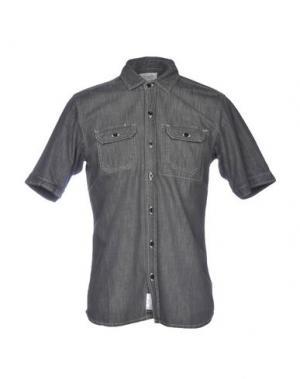 Джинсовая рубашка DANIELE ALESSANDRINI HOMME. Цвет: серый